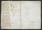 f. 252v, displayed as an open bifolium with f. 249: sketches and notes