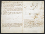 f. 259, displayed as an open bifolium with f. 260v: notes and crude sketches