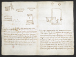 f. 259v, displayed as an open bifolium with f. 260: notes and crude sketches