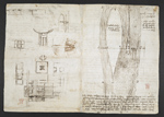 f. 264v, displayed as an open bifolium with f. 269: sketches