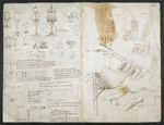 f. 283v, displayed as an open bifolium with f. 282: sketches and notes