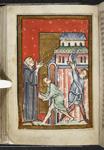 Cuthbert extinguishing a fire set by a demon