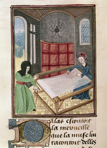 Pallas and Arachne at the loom