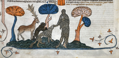 Mary of Egypt feeding a lion, a bear and a stag