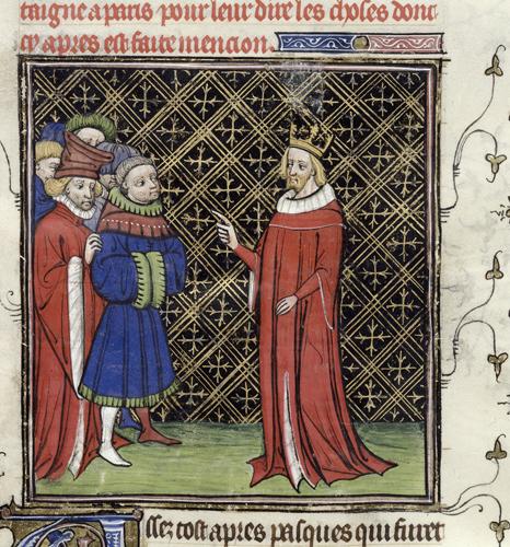 King addressing barons