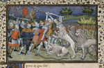 Battle with white lions