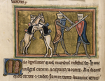 Two knights and two horses fighting