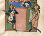 Musicians playing a rebec and a cithar