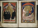 Cuthbert being elected bishop, and performing a healing miracle