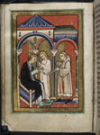 Aelfflaed being cured by Cuthbert's girdle