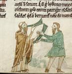 Bernard blowing the horn of Brendan