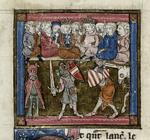 Sir Lancelot fighting Sir Mados