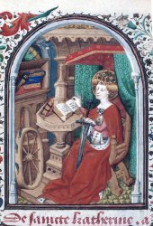 St Catherine with her wheel, Yates Thompson MS 3, f. 281v
