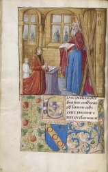 Andr� Serre, of Dijon, kneeling before his patron saint, Harley MS 3181, f. 22v