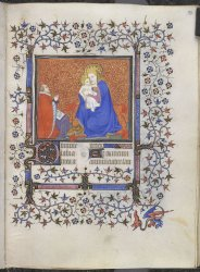 Jean de Berry or a member of his court kneeling before the Virgin and Child, Yates Thompson MS 37, f. 92