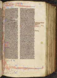 Note the end of the name Judith written in the upper margin, in the Book of Judith of this 13th-century Bible (the first syllable is written on the opposite page), Harley MS 2806, f. 182