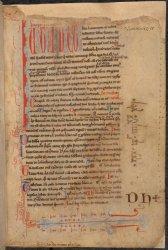 Shelf marks of the Benedictine abbey of Saint-Denis, near Paris: DH+ (13th century), and xxx.ix^c^.iiii^xx^xvi (15th century), Harley MS 3834, f. 2