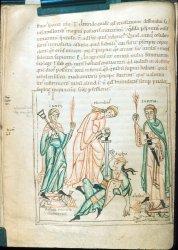 Humility fighting Pride, Arundel MS 44, f. 34v