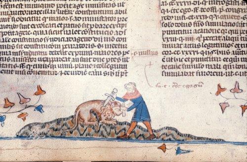 Man slaying a lion