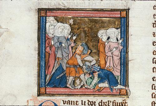 Sir Bors defeating Sir Prydam