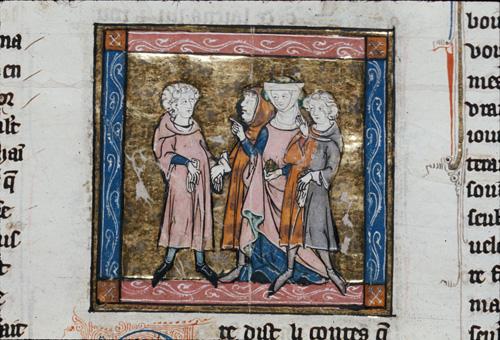 Lancelot being offered a glove