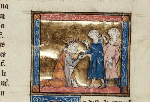 Guinevere kneeling before Sir Lancelot
