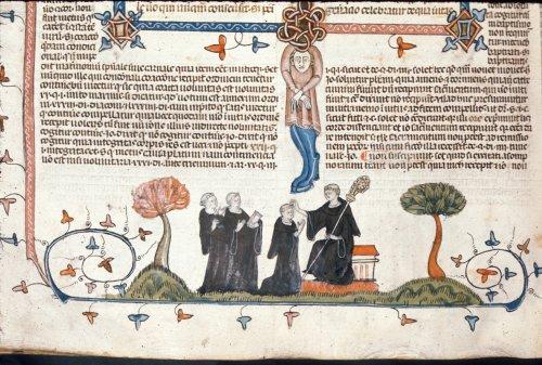 Abbot blessing monks