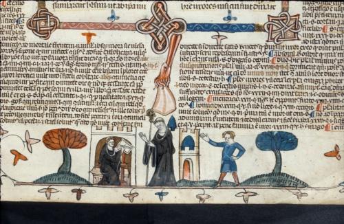 Abbot addressing monk