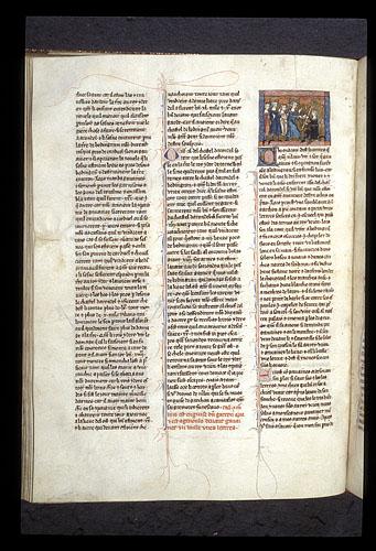 Merlin disguised as a young boy kneels before Gawain
