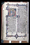 Historiated initial 'D'(ixit) with David and a fool at the ...