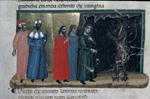 Minos judging three souls.