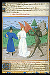 Miniature of a man with a guardian angel and a devil