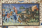Battle with sheep-horned dragons