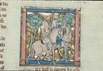Sir Gawain riding with Sir Ector de Marys