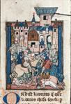 Sir Galahad wounding Sir Gawain in a tournament