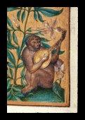 A monkey playing a lute