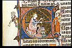 Detail of the historiated initial 'D' with David playing ...