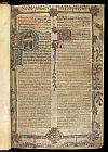 Border and historiated and illuminated initials