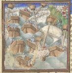 A storm destroying the Christian fleet