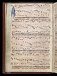 Initial and music staves