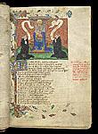Two monks kneeling before Edmund