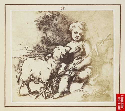 Murillo:  St. John Baptist with a lamb. (From an original drawing by Murillo.)