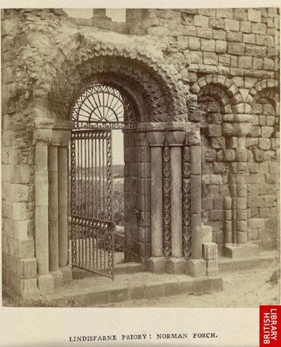 Lindisfarne Priory; Norman porch.