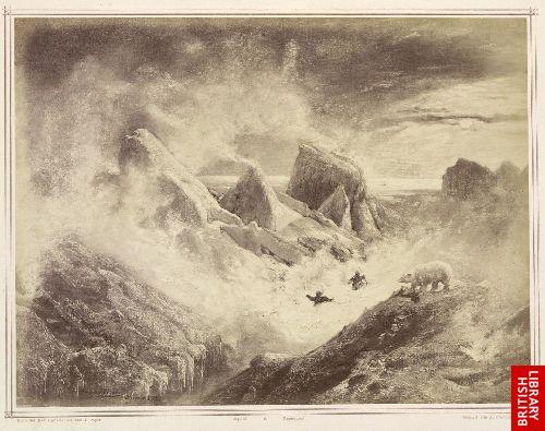 Schneesturm im Packeise w�hrend der Winternacht des Jahres 1873. Wegschleppung eines Hundes durch einen B�ren, welchen zwei M�nner verfolgen.