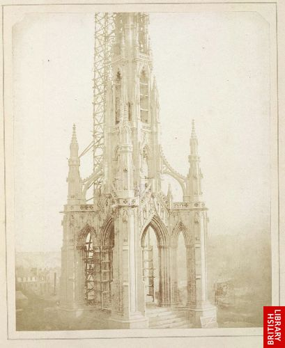 Sir Walter Scott's Monument, Edinburgh; as it appeared when nearly finished, in October, 1844.