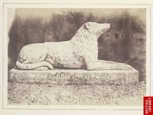 Effigy of Sir W. Scott's favourite dog Maida, by the side of the hall door at Abbotsford.