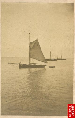 [Small yacht at anchor, with sail drying]   [opp. p. 5]