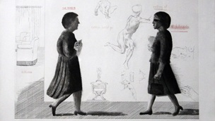 Monochrome drawing of two people walking towards each other