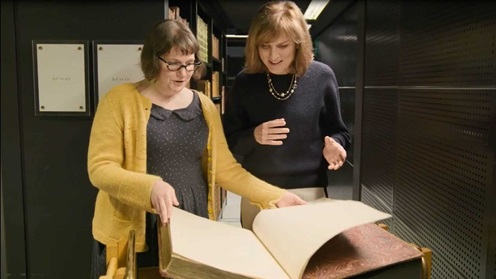 Television presenter Fiona Bruce in the King's Library