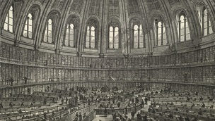 A black and white illustration of the Round Reading Room from the British Museum, from an illustrated plate in 'Free Public Libraries, their organisation, uses and management' by Thomas Greenwood, Simpkin, Marshall & Co.: London, 1886. British Library shelfmark 11902.b.52.